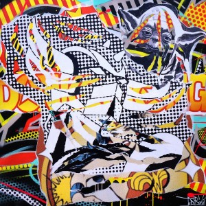 BLACK SWAN 1 by Jo Di Bona 2014 100x100 technique mixte sur toile