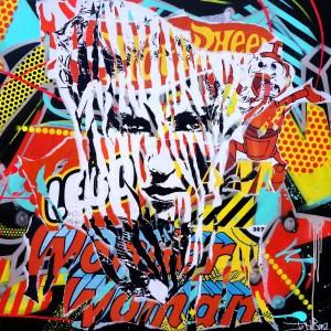 BLACK SWAN 2 by Jo Di Bona 2014 100x100 technique mixte sur toile