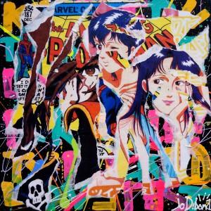 CAP'S EYES by Jo Di Bona 2014 40x40 technique mixte sur toile