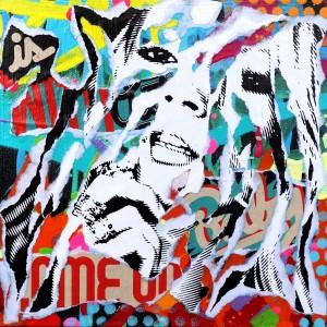 COME ON! by Jo Di Bona 2015 19x19 technique mixte sur médium