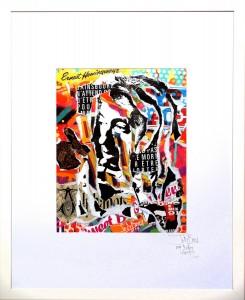 GAINSBARRE SE BOURRE by Jo Di Bona 2015 40x50 technique mixte sur papier