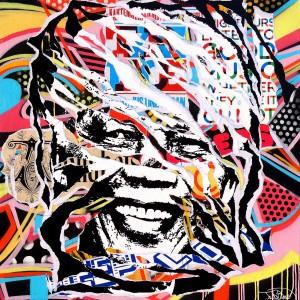 MADIBA IS SO POP! by Jo Di Bona 2015 100x100 technique mixte sur toile