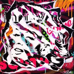 MONROE IS BACK by Jo Di Bona 2015 50x50 technique mixte sur toile