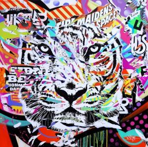 MY WHITE TIGER by Jo Di Bona 2014 140x140 technique mixte sur toile