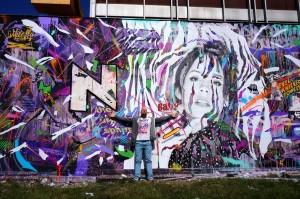 Mur réalisé avec Kanos pour Rue des Arts 3, Aulnay-sous-Bois