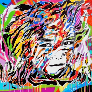 NEPALI KID by Jo Di Bona 2015 100x100 technique mixte sur toile