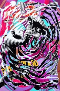 PINK GORILLA by Jo Di Bona 2015 80x120 technique mixte sur toile