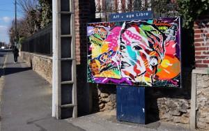 Panneau d'affichage réalisé pour la Journée de la Femme, Villemomble
