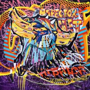 SPACE COWBOY by Jo Di Bona 2014 100x100 technique mixte sur toile