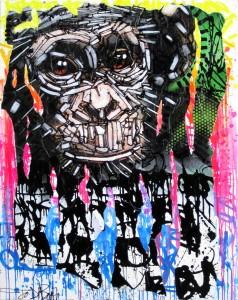 THE FIRST MAN ON EARTH by Jo Di Bona 2014 technique mixte sur toile 114x146
