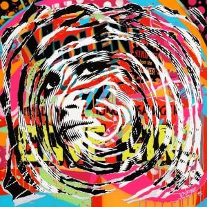 VIOLENT GIRL by Jo Di Bona 2015 100x100 technique mixte sur toile