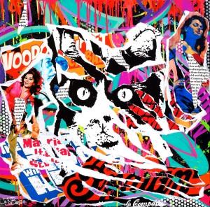 VOODOO CAT by Jo Di Bona 2015 60x60 technique mixte sur toile