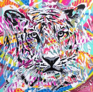 BABY TIGER by Jo Di Bona 2017 60x60 technique mixte sur toile