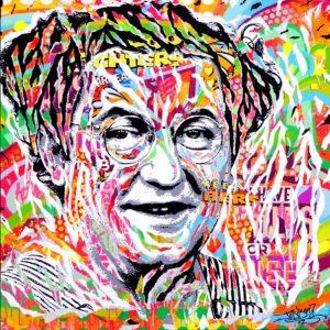 COLUCHE IS SO POP! by Jo Di Bona 2017 100x100 technique mixte sur toile