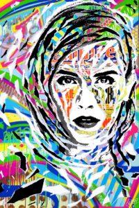 DAYS IN THE SUN RVB (avec Emma Watson) by Jo Di Bona 2017 80x120 technique mixte sur bois