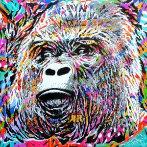 ENDANGERED HOMINIDAE by Jo Di Bona 2017 120x120 technique mixte sur toile