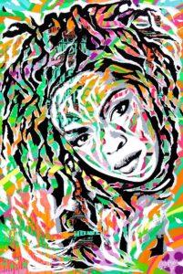 KILLING ME SOFTLY RVB (avec Lauryn Hill) by Jo Di Bona 2017 80x120 technique mixte sur bois