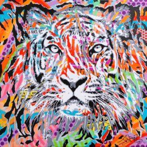 VISUAL DAMAGE by Jo Di Bona 2017 60x60 technique mixte sur toile