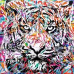 AT YOUR OWN RISK by Jo Di Bona 2018 100x100 technique mixte sur toile