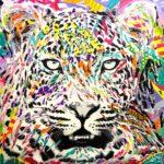 MIDNIGHT CHEETAH by Jo Di Bona 2018 120x120 technique mixte sur toile